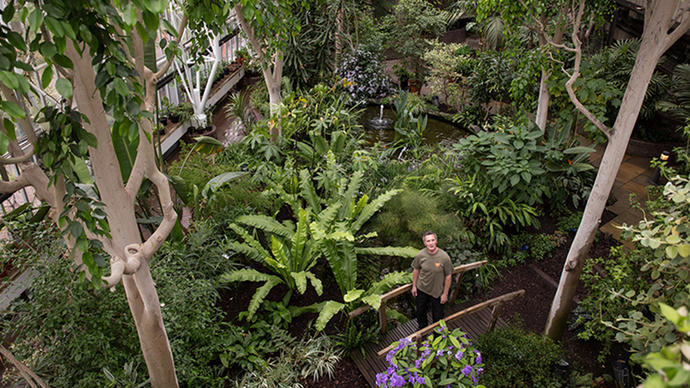 Photo of gardener Neil Anderson in the Barbican Conservatory