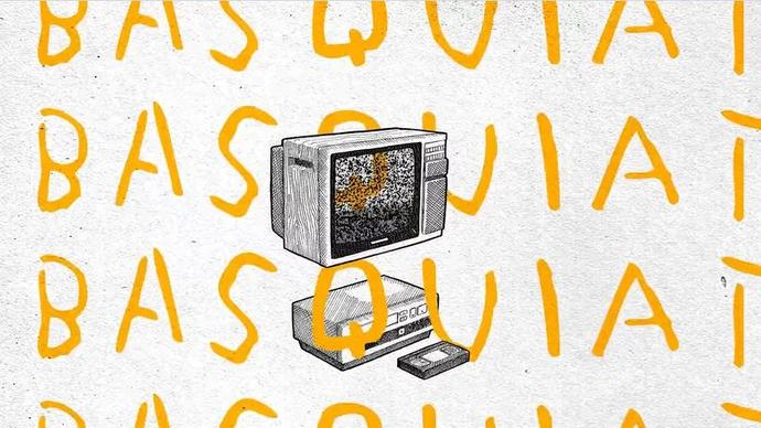 an illustration of a computer with the word Basquiat scribbled all over