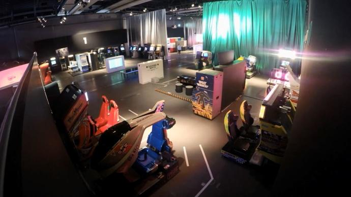 photo of Game On exhibition being installed