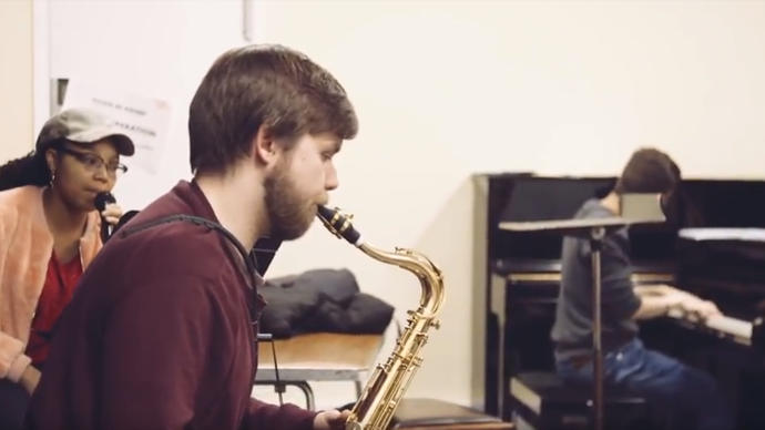 Photo of student playing saxophone