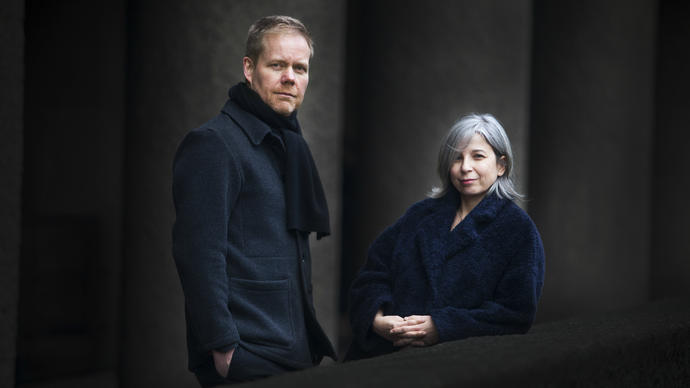 max richter and yulia mahr in front of concrete