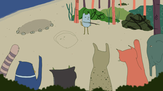 Illustration of a group of animals on a beach