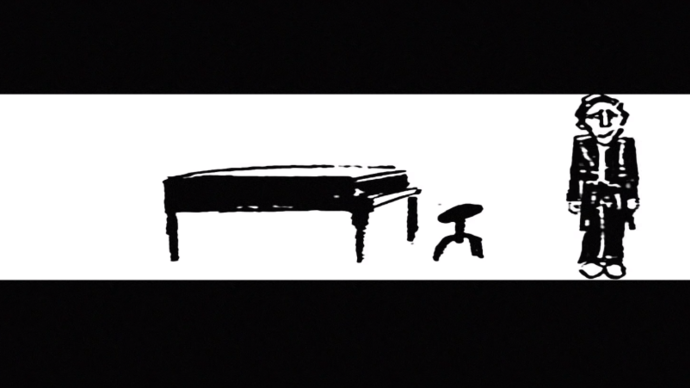 black and white drawing of a man and a piano