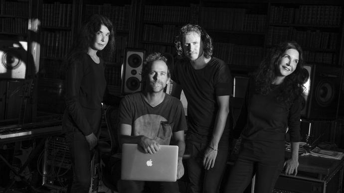 Katia and Marielle Labéque with Bryce Dessner and David Chalmin and a laptop in the studio.