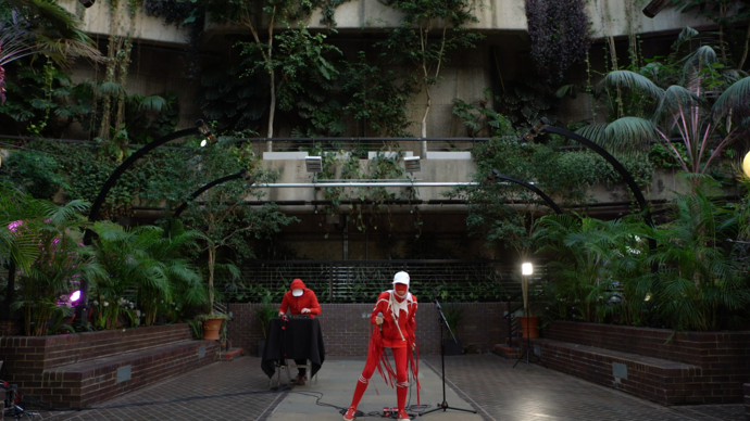 gazelle twin performing in the barbican conservatory