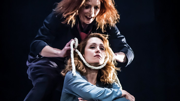 photo of two women on stage