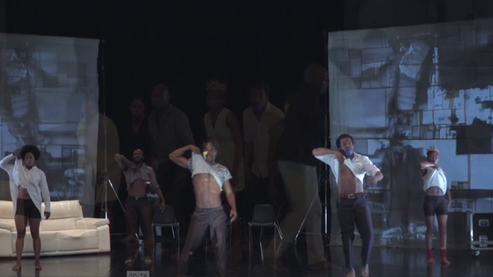dancers on stage taking shirt off