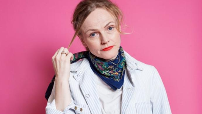 photo of maxine peake in front of pink background