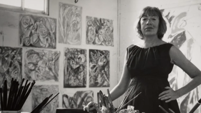 photo of lee krasner in her own studio