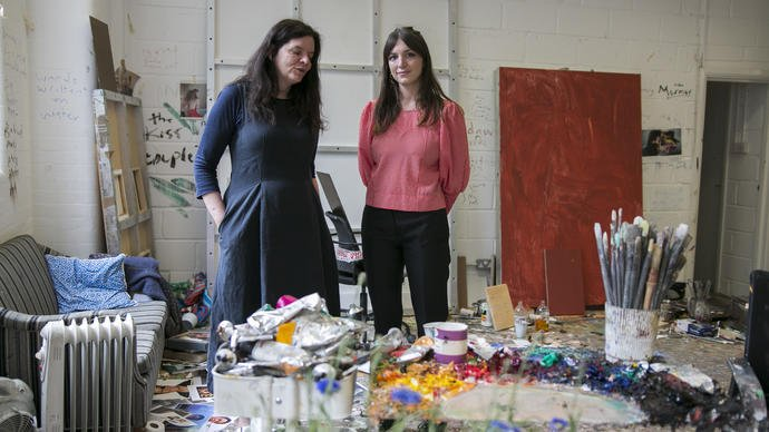 chantal joffe and katy hessel in the studio