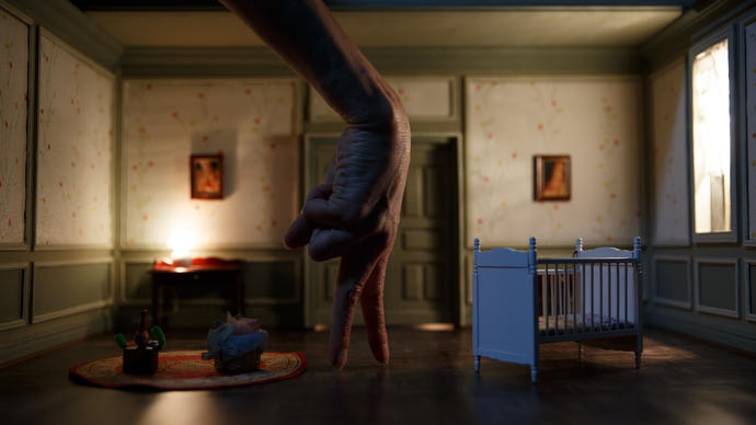 the set is a room with a crib in it, and a hand is posed as a person walking across the stage