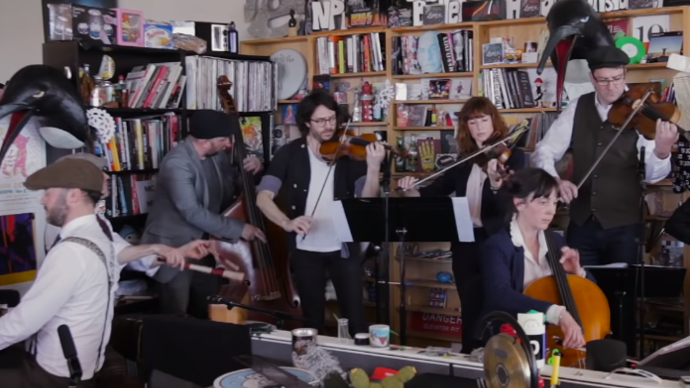 Photo of Penguin Cafe performing on NPR Music Tiny Desk Concert