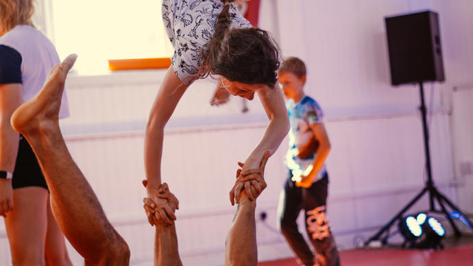 photo of children rehearsing with adults