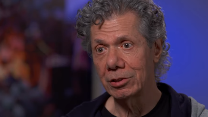 Photo of Chick Corea talking to the camera about his new album Trilogy 2