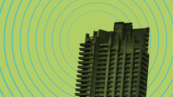 Graphic of the Barbican with radio waves