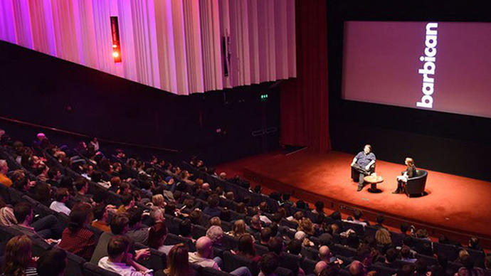 a picture of ben wheatley giving a talk at the barbican cinema in london