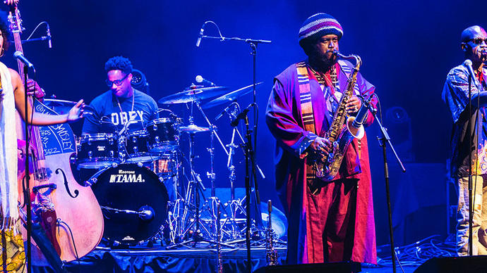 a great photo of jazz players at the barbican centre in london during the EFG jazz festival