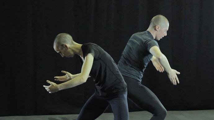 julie cunningham and one dancer from her company in rehearsal in the theatre of the barbican centre in london