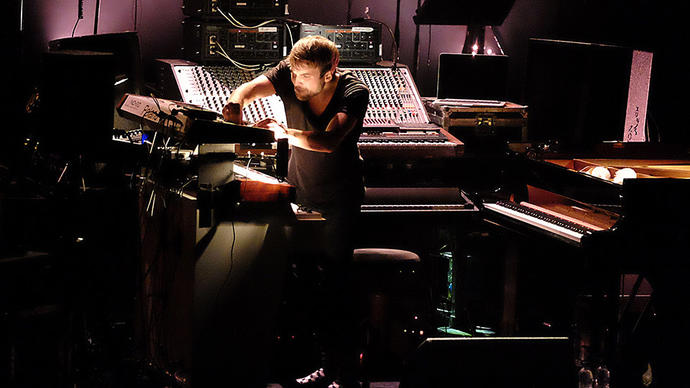 Photo of Nils Frahm performing at the Barbican