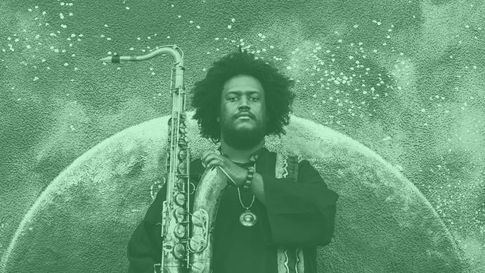 a great photo of kamasi washington playing jazz