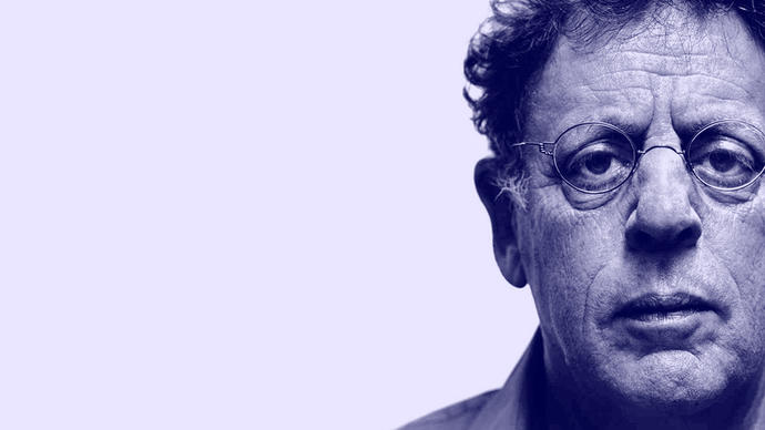 an amazing picture of philip glass somewhere in new york