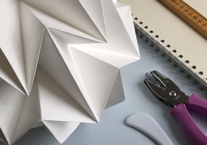 Detail of origami lampshade by Kate Colin as part of her paper-folding workshop