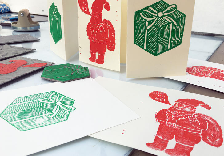Image of christmas card making with Jamie Temple