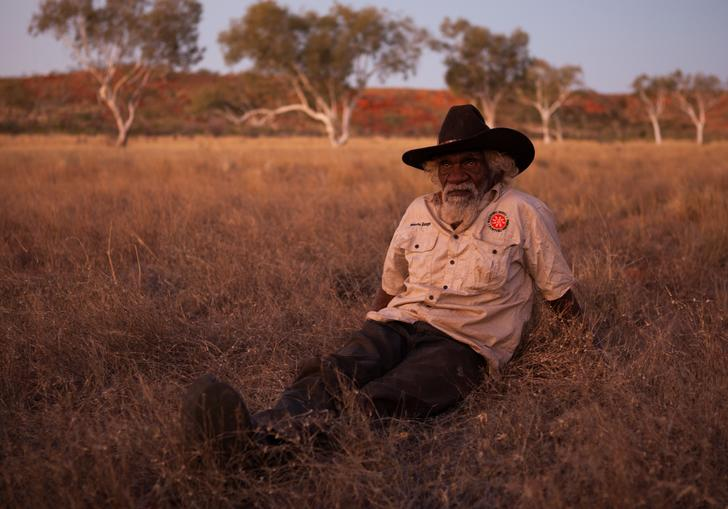 Person sat in the outback