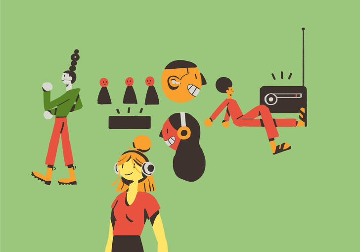 illustration of people listening to music
