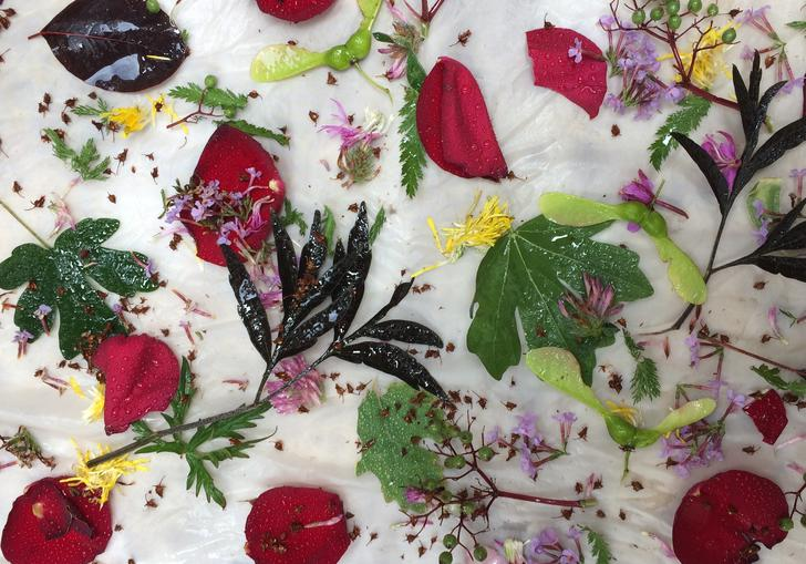Image of floral dyeing with Botanical Inks as part of make! in the barbican shop