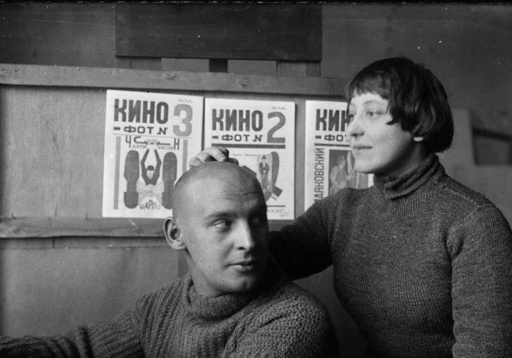 A. Rodchenko and V. Stepanova in the workshop (in front of Kino-phot magazine covers), 1923