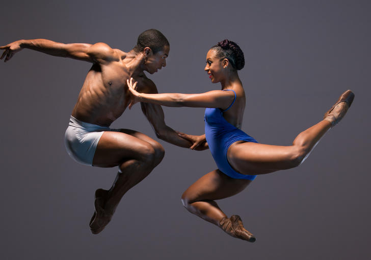 Two dancers in the air