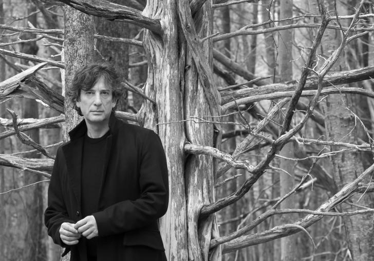 Neal Gaiman B&W in woods