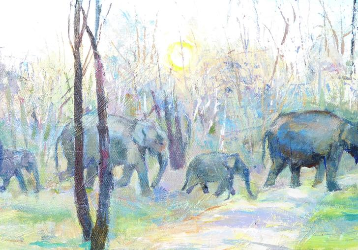 Elephant family on the move painting by Susan Sands
