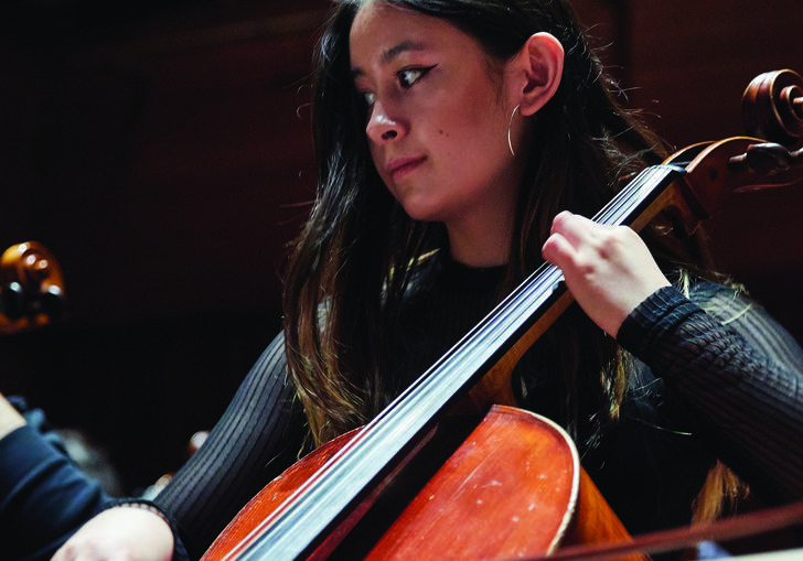 Junior Guildhall student playing the cello