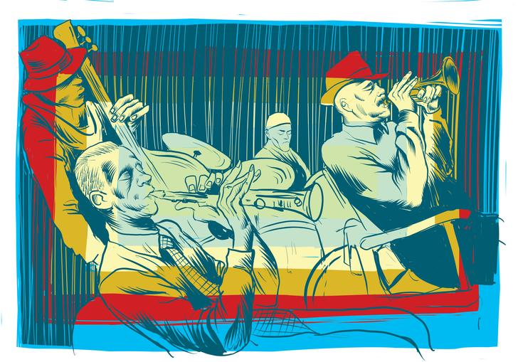 An illustration of Art Ensemble of Chicago performing
