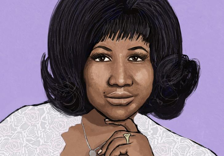 Colourful illustrations of Aretha Franklin and the performers