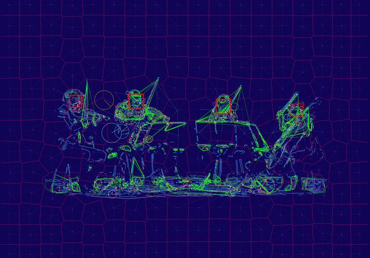 An image showing how a computer sees Kronos Quartet as they perform