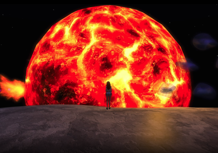 Animated woman stands in front of a burning sun