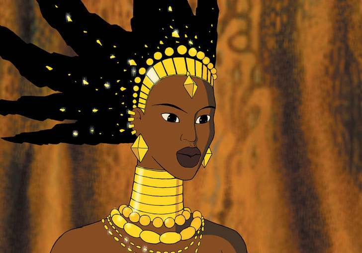 animated image of a tall black woman wearing lots of gold jewellery
