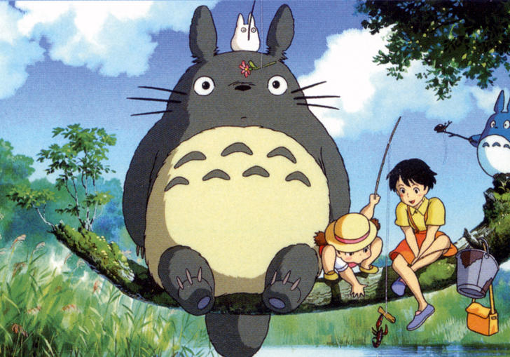 Totoro and children sitting on a branch above a river