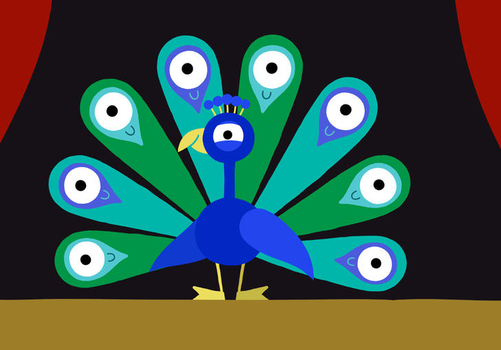 animated peacock in a theatre