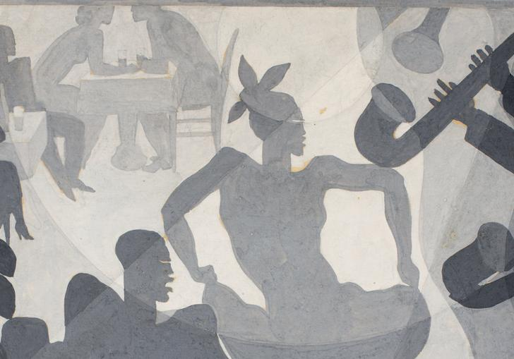 Aaron Douglas' Dance, featuring a man and a woman dancing at a club, with instruments