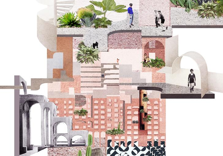 An architectural collage created by Tatiana Bilbao