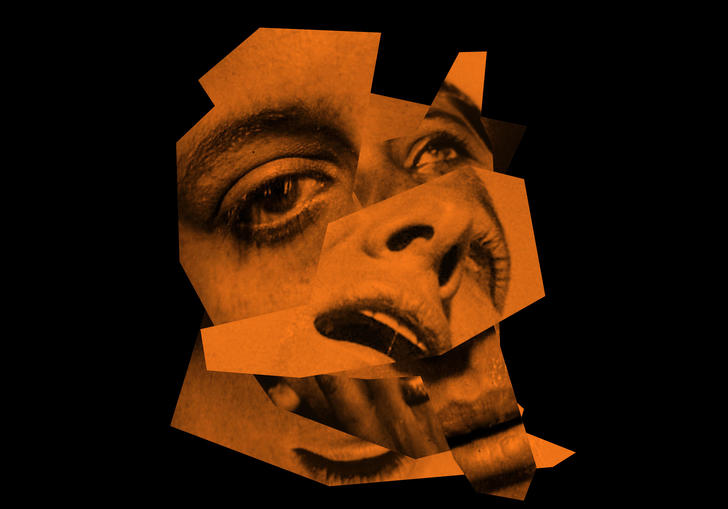 An orange distorted image of Julia Holter's face on a black background.