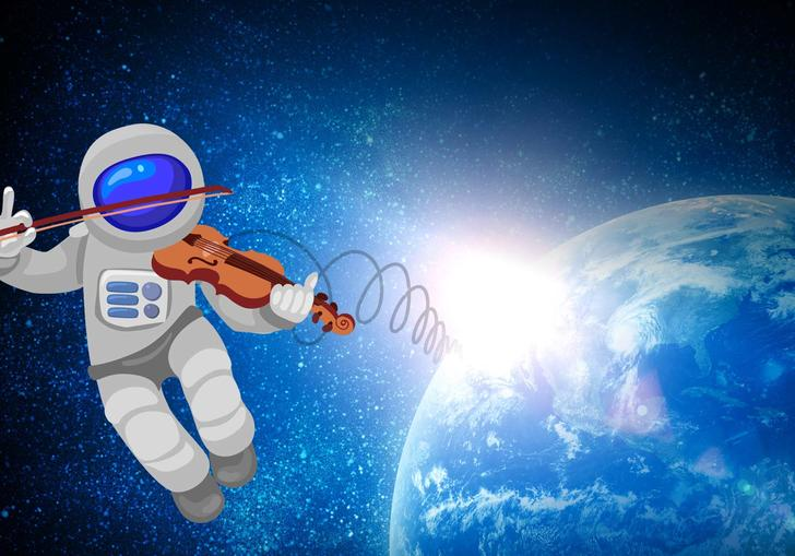 Cartoon astronaut playing the violin over Earth