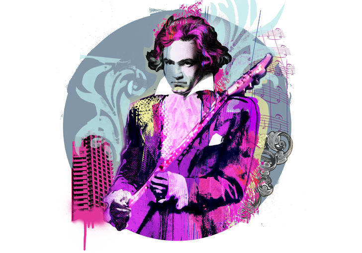 Illustration of Beethoven wearing Prince's trademark purple suit and holding a guitar