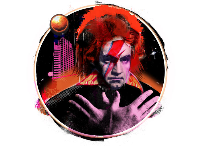 Illustration of Beethoven with David Bowie's trademark Ziggy Stardust lightning bolt makeup