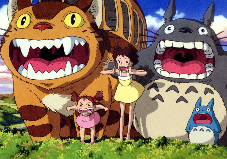 little girl and totoro screaming in to the air