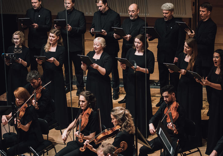 The Estonian Chamber Choir singing ethereally alongside the Australian Chamber Orchestra